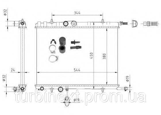 Радіатор охолодження NRF 53424A Citroen Berlingo/Peugeot Partner 96- (544x380x24) (Economy Class)