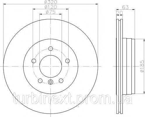 Диск тормозной TEXTAR 92122703 (задний) BMW 5 (E60)/5 (E61)/6 (E64) 03-12 (320x20) PRO
