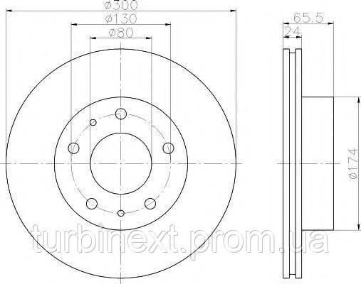 Диск гальмівний (передній) TEXTAR 92116703 Fiat Ducato/Peugeot Boxer 1.8 t 94- (300x24) PRO