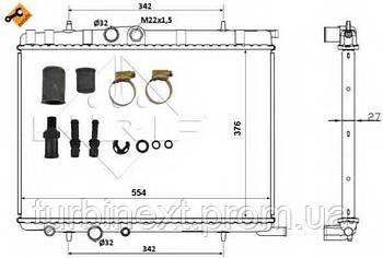 Радиатор охлаждения NRF 53424 Citroen Berlingo/Peugeot Partner 96- (554x376x27)