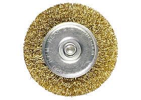 Щетка для дрели, 40 мм, плоская со шпилькой, латунь. витая проволока // MTX