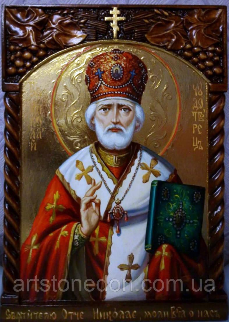 Икона писаная Святой Николай Чудотворец . Ручная резьба