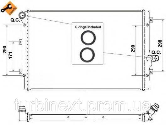 Радіатор охолодження NRF 53425 VW Caddy III 1.6/2.0 TDI 10- (AT/+/- AC)