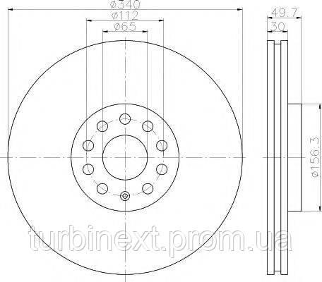 Диск тормозной TEXTAR 92229805 (передний) VW Passat 08-/Golf 12- (340x30) PRO+