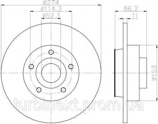 Диск тормозной TEXTAR 92232603 (задний) Renault Scenic III 09- (274х11) (с подшипником) PRO
