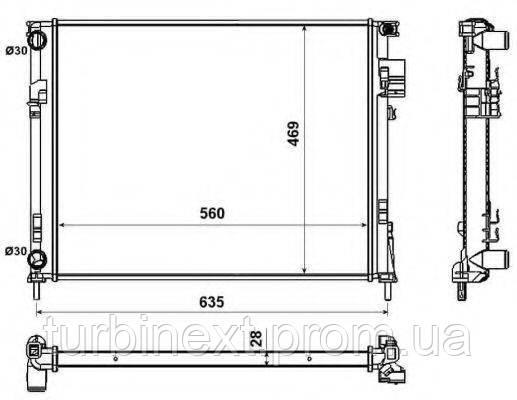 Радіатор охолодження NRF 58332 Renault Trafic 1.9 dTi/dCi 01- (+AC)