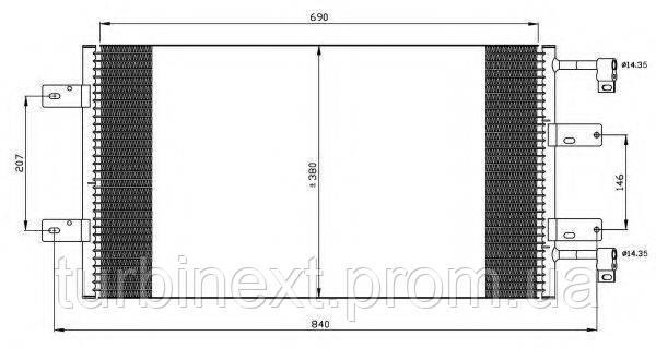 Радіатор кондиціонера NRF 35505 Renault Trafic/Opel Vivaro 2.0 D/2.5 D 01-