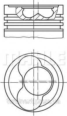 Поршень MAHLE ORIGINAL 030 59 00 VW LT 2.5 TDI (81.01 mm/STD) (3-4-5 циліндр) (прямий шатун)