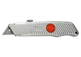 Ніж, 18 мм, висувне трапецієподібне лезо, металевий корпус // MTX