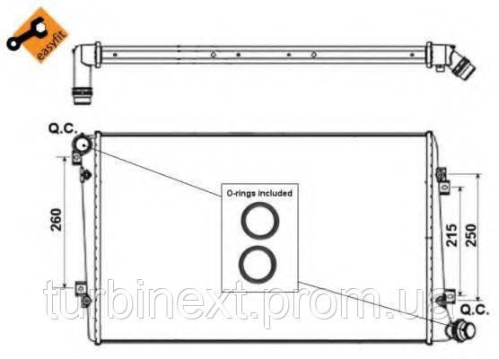 Радіатор охолодження NRF 53813 VW Caddy 1.9 TDI (+/-AC) (408x648x32)