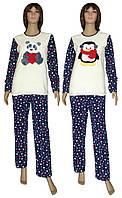 Пижама женская зимняя с вышивкой 18209 Панда   Пингвин Dark Blue флис    махра cda9c5d3e05b0