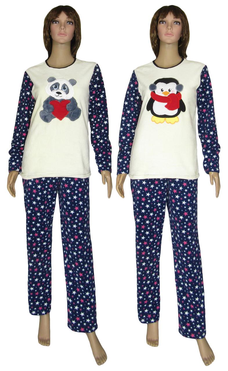 Пижама женская зимняя с вышивкой 18209 Панда   Пингвин Dark Blue флис    махра c2e78782aa1c1