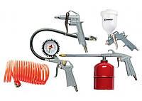 Набор пневмоинструмента, 5 предметов, быстросъемное соединение, краскораспылитель с верхним бачком // MTX