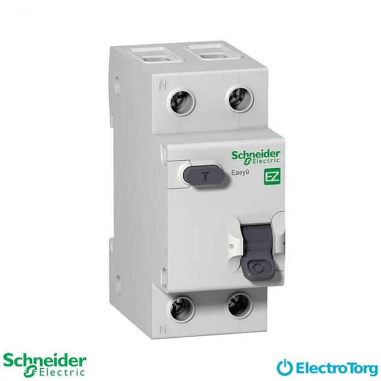 Дифференциальный автоматический выключатель 2-полюсный 25А С, 30 мА, промышленная серия Easy9 Schneider Electric
