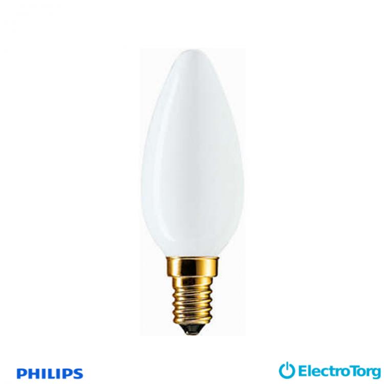 Лампа накаливания Soft 60W E14 230V B35 WH 1CT/10X10F Philips