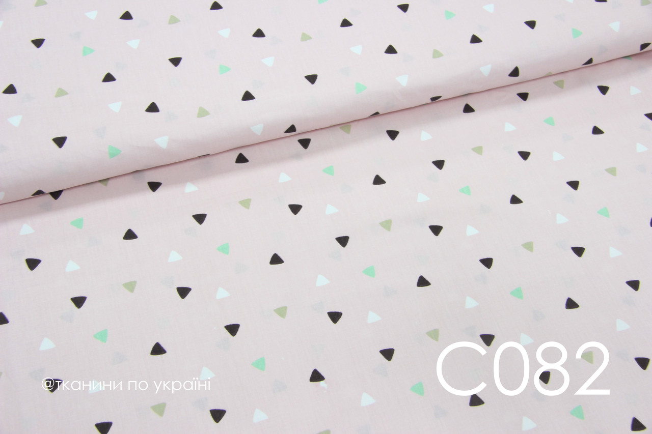 Ткань сатин Треугольники мелкие на розовом