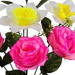 Букет искусственных роз и нарциссов, 41см (598), фото 3