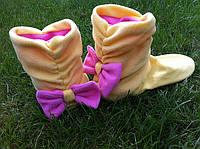 """Домашние тапочки-сапожки """"Бантики желто-розовые"""""""