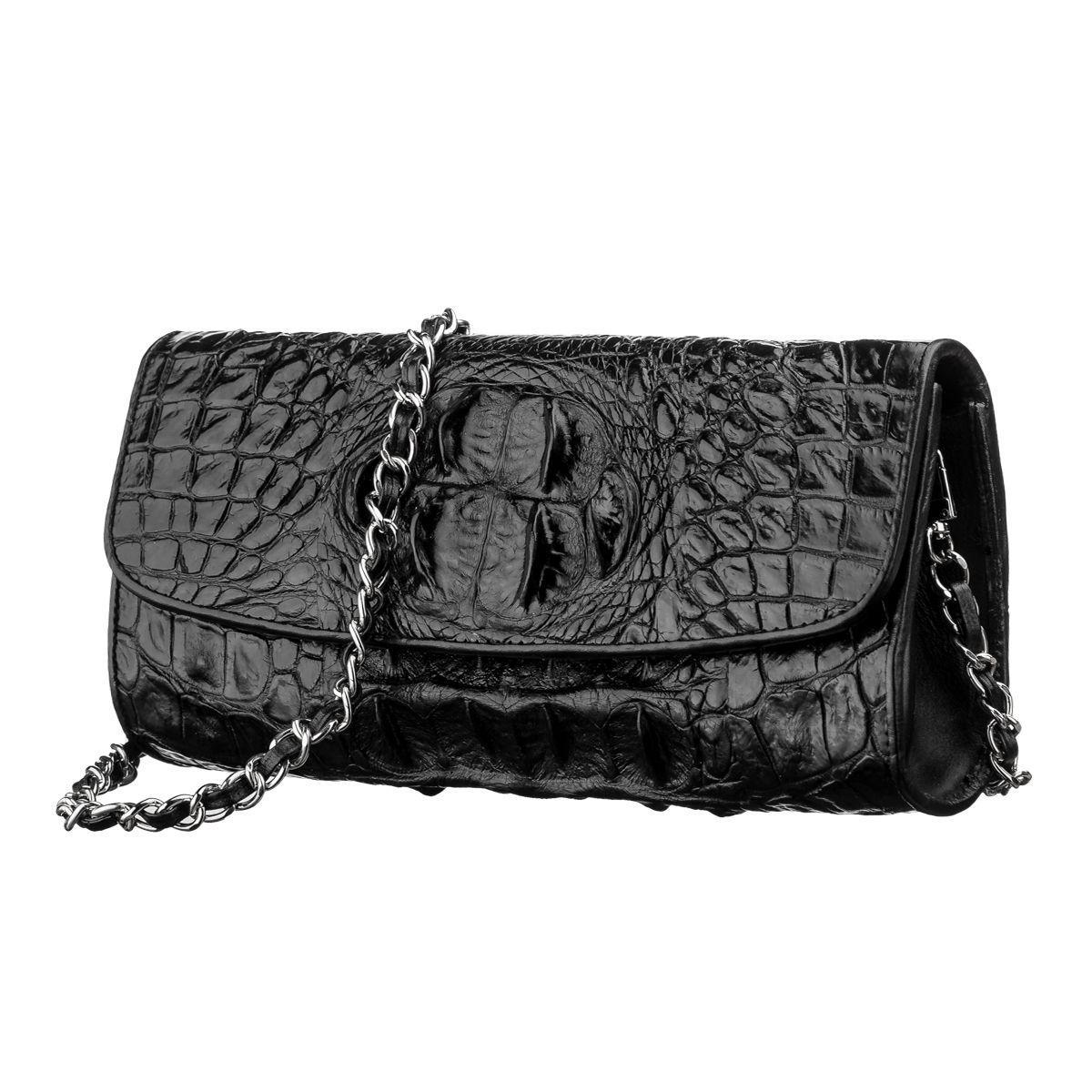 Сумка клатч Ekzotic Leather  из натуральной кожи крокодила Черная (cb 12)