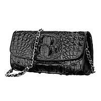 Сумка клатч Ekzotic Leather  из натуральной кожи крокодила Черная (cb 12), фото 1