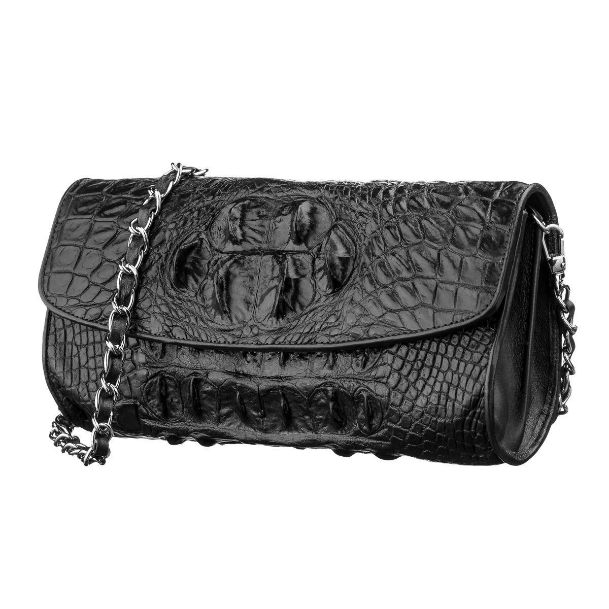 Сумка клатч Ekzotic Leather  из натуральной кожи крокодила Коричневая (cb13)