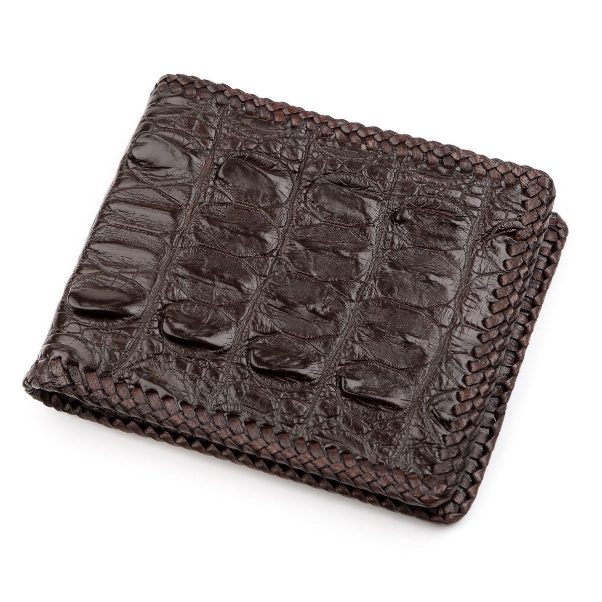 Портмоне из натуральной кожи крокодила Ekzotic Leather Коричневое (cw 73)