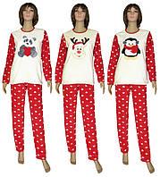 Пижама женская зимняя с вышивкой 18209 Олень   Панда   Пингвин Red флис    махра dd8cc91172de6