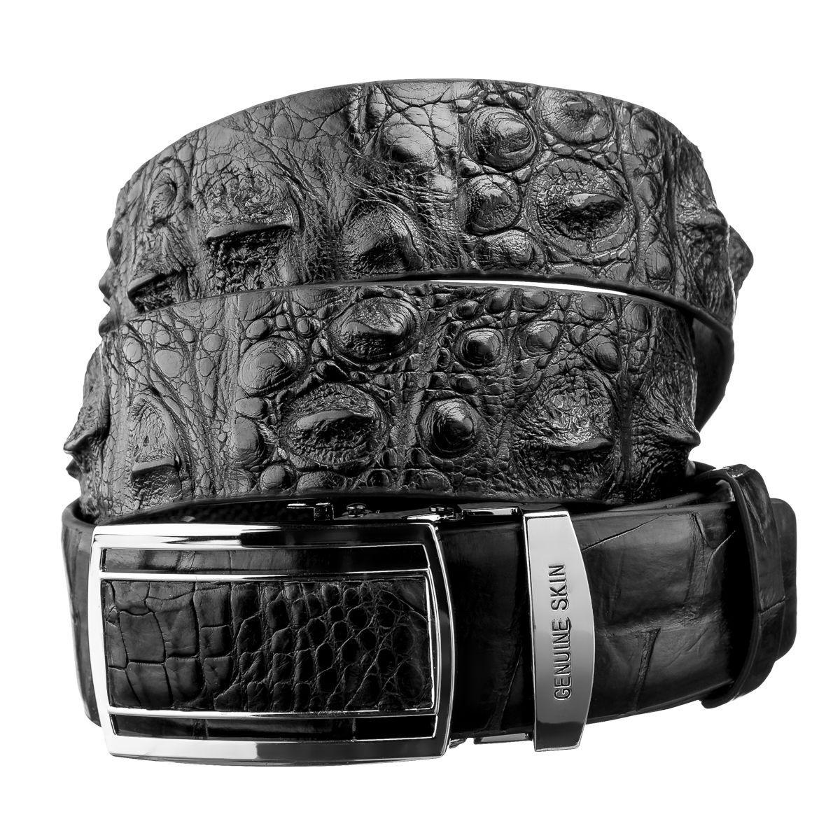 Ремень-автомат из натуральной кожи крокодила Ekzotic Leather Черный (crb 24)