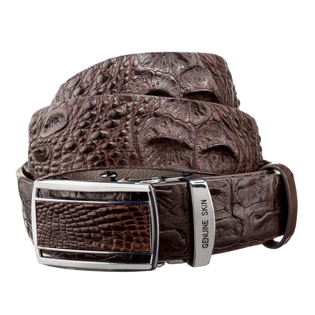 Ремень-автомат из натуральной кожи крокодила Ekzotic Leather Коричневый (crb 19)