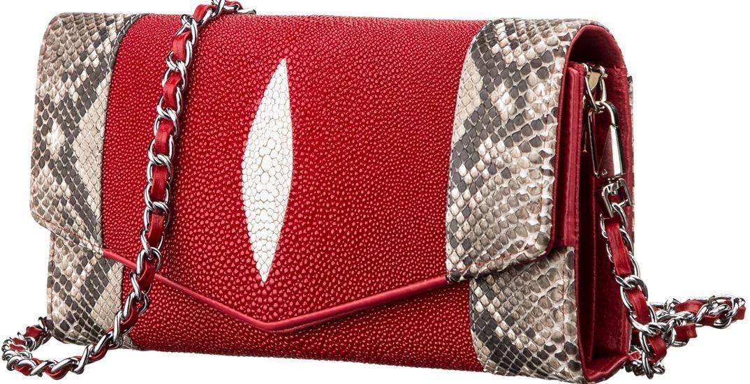 Сумка-клатч  из натуральной кожи морского ската Ekzotic Leather Красная (sb12)
