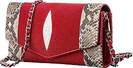 Сумка-клатч з натуральної шкіри морського скату Ekzotic Leather Червона (sb12)