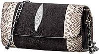 Сумка - клатч  из натуральной кожи морского ската Ekzotic Leather Черная (sb15), фото 1
