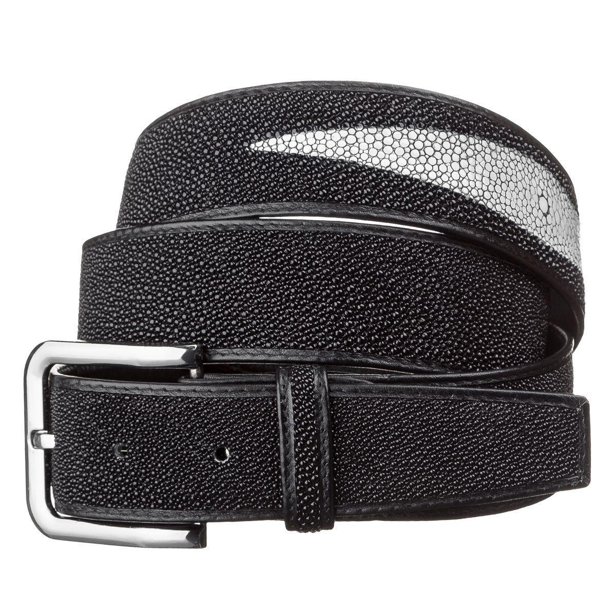Ремень мужской из натуральной кожи морского ската Ekzotic Leather Черный (stb 08)