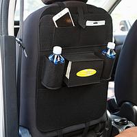 Органайзер на спинку сидения автомобиля с подстаканниками и карманами (черный)