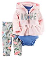 Детский флисовый костюм на девочку, набор 3-ка фирмы картерс