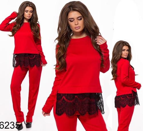Модный брючный костюм с кофтой (красный) 826235