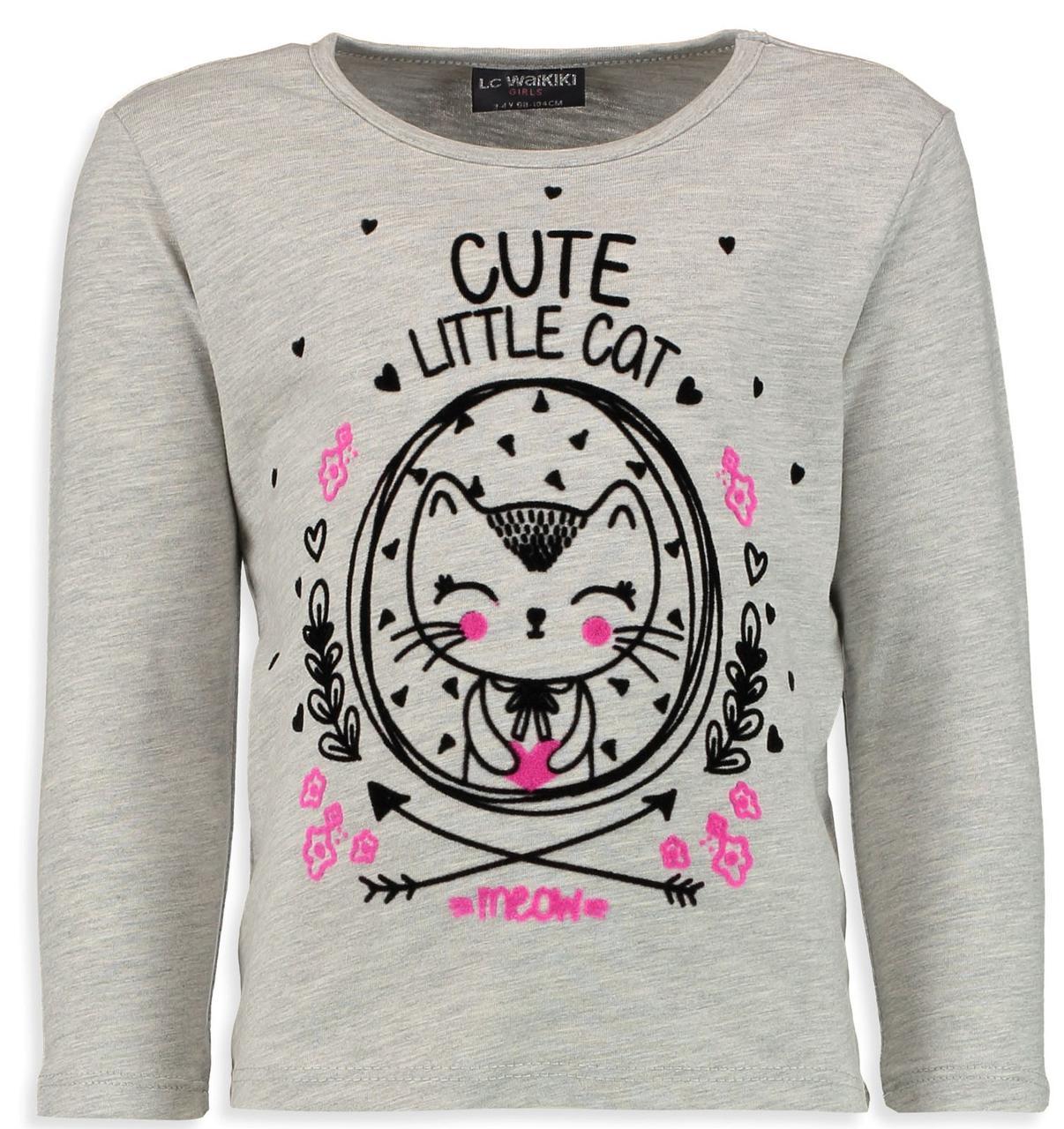 Серый реглан для девочки Lc Waikiki / Лс Вайкики Cute Little Cat