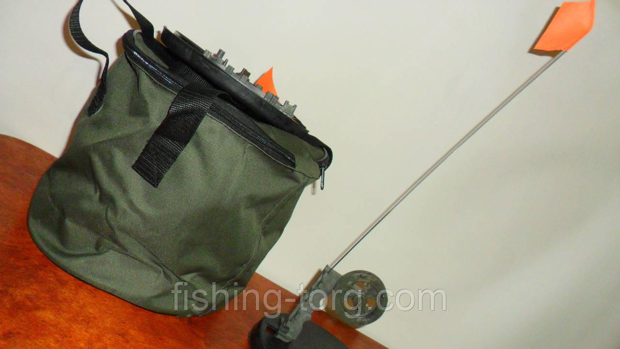Набор жерлиц 10шт зимняя компактная высокая сумка переноска из прорезиненой ткани