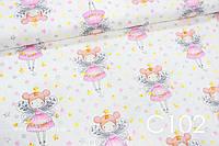 Ткань сатин Феи на белом, фото 1