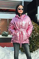 Женская зимняя модная куртка с поясом