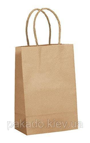 Бумажный пакет с дном 190х120х290 Бурый 80г витые ручки