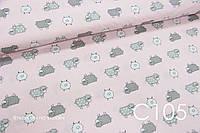 Ткань сатин Овечки на розовом