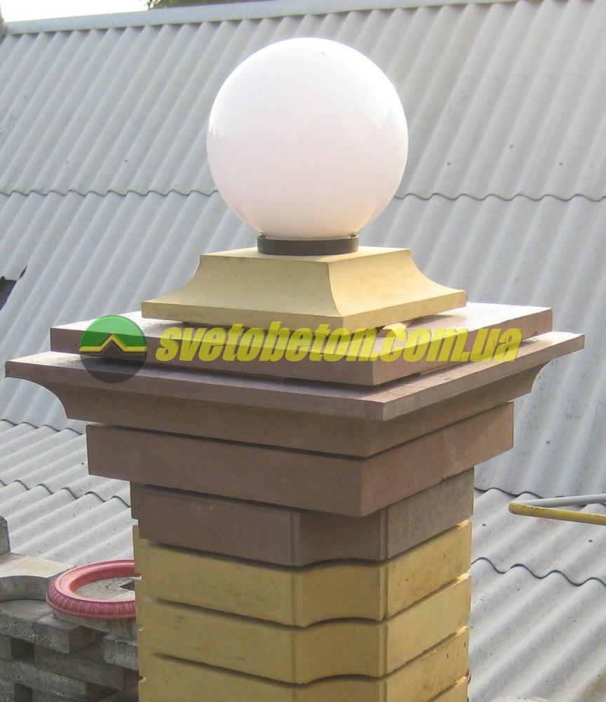 Крышка колпак на столб забора бетонная, шляпка 405х405, плита накрытие парапета колонны из бетона.