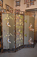 "Ширма из бамбука 170х150см ""Бабочки"" коричневая"
