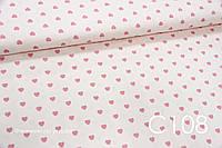 Ткань сатин Сердца на светло-персиковом, фото 1