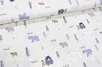 Ткань сатин Мишки синие, фиолетовые