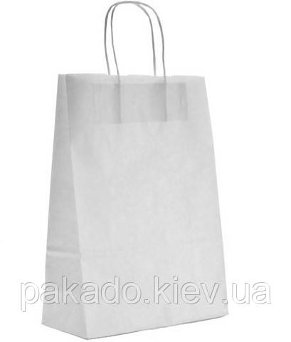 Бумажный пакет НА ВЫНОС 150х80х240 Белый с ручками