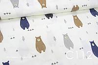 Ткань сатин Мишки синие, коричневые, серые, фото 1