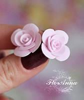 """Серьги гвоздики ручной работы """"Розовые розочки"""""""
