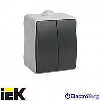 Выключатель двухклавишный серии ВС20-2-0-ФСр, для открытой установки IP54 ИЭК
